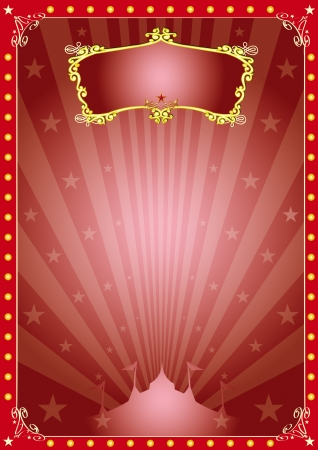 cabaret stage: Un circo rojo vendimia anunciante con rayos de sol para su publicidad