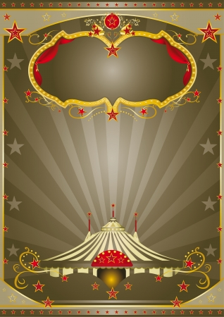 circus poster: A circus vintage poster with a stage and sunbeams for your advertising Illustration