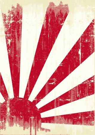 kamikaze:  An old japan grunge flag for you Illustration