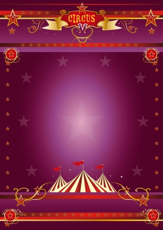 cabaret stage: A circus purple poster for your show