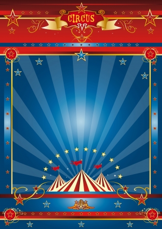 circus stage: a circus blue poster for your advertising