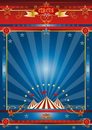 fondo de circo: un circo azul cartel para su publicidad Foto de archivo