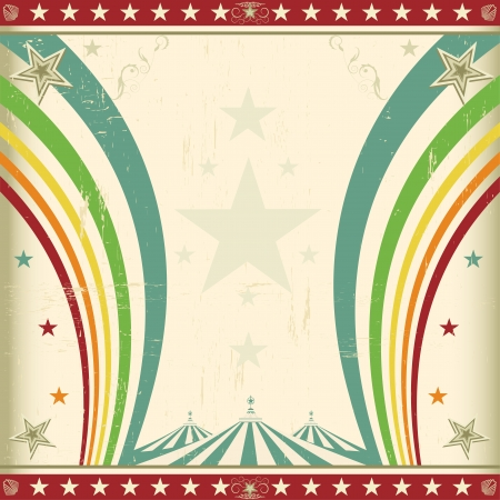 A retro square circus background for an invitation with two rainbows Vector