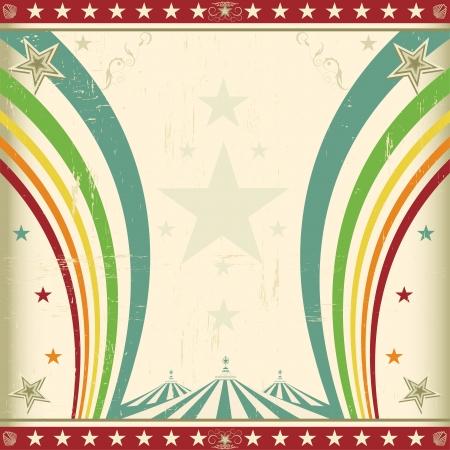 fondo de circo: Un cuadrado retro de fondo de circo para una invitaci�n con dos arco iris