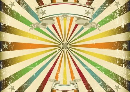 karnaval: Bir ekran için Perfect boyutu için mavi güneş ışınların ile Bir vintage yatay afiş
