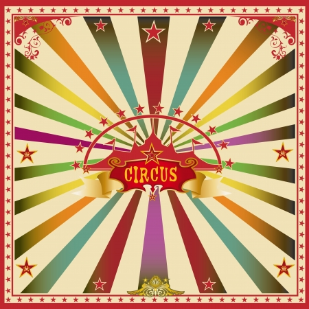 cabaret stage: A wonderful circus card with mullticolor sunbeams for a big party   Illustration