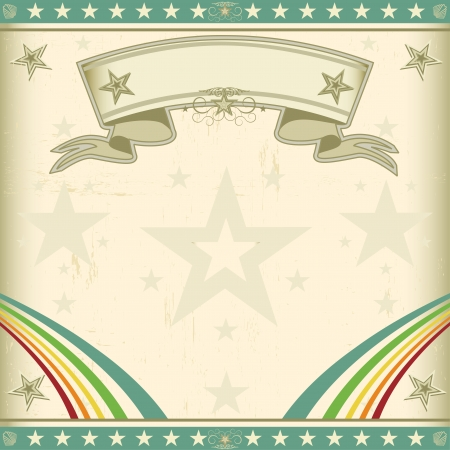 cabaret: A retro square circus background for an invitation with two rainbows Illustration