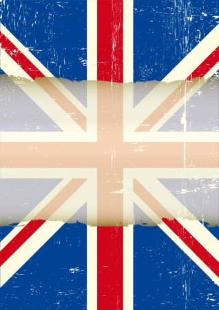 grunge union jack: A dirty british flag with a large transparent frame for your message   Illustration