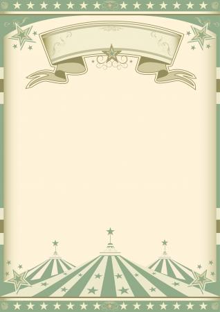 시청 빈티지 녹색 포스터. 일러스트