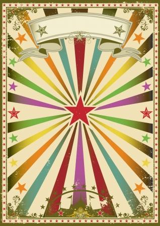 bijsluiter: Een veelkleurige affiche met zonnestralen voor u Stock Illustratie