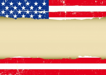 An american grunge flag with a frame for your message Vector
