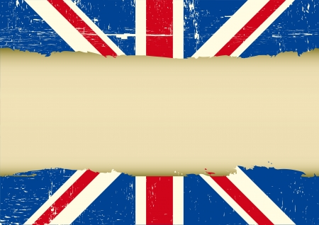 grunge union jack: Horizontal frame on a UK grunge Flag for your text Illustration