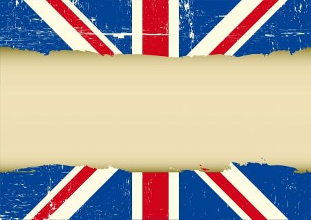 bandera inglesa: Marco horizontal sobre una bandera del Reino Unido grunge para su texto