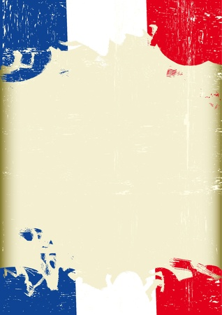 french culture: A poster with a large scratched frame and a grunge french flag for your publicity