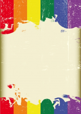 gay pride flag: A poster with a large scratched frame and a grunge rainbow flag for your publicity