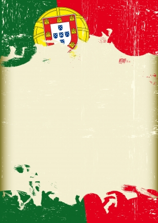 A poster with a large scratched frame and a grunge portugal flag for your publicity  Vector