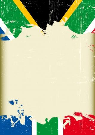 le cap: Un cartel con un gran marco rayado y una bandera del grunge de Sudáfrica para su publicidad Vectores