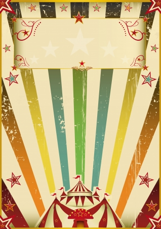 A vintage background with multicolor sunbeams on circus theme   Vector