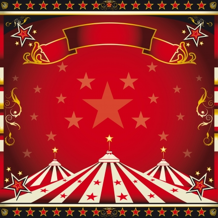 circus tent: A circus square leaflet for the announcement of your show