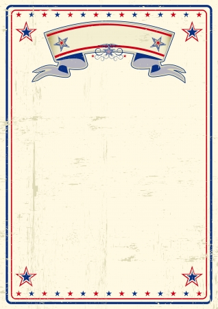 patriotic border: A vintage poster with a large scratched frame and a grunge background for your publicity