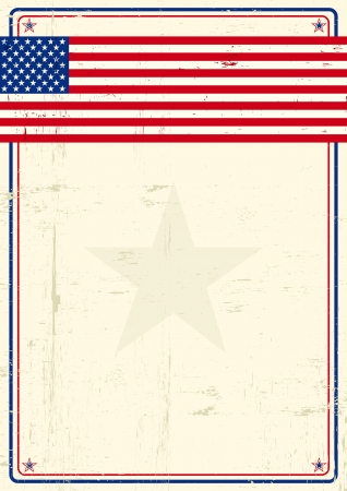 A poster with a large scratched frame and a grunge us flag for your publicity  Stock Vector - 18023032