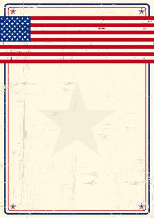 estados unidos bandera: Un cartel con un gran marco rayado y una bandera nos grunge para su publicidad