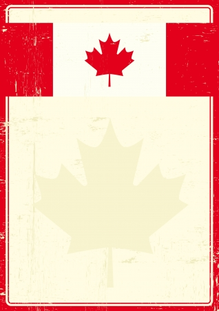 A poster with a large scratched frame and a grunge canadian flag for your publicity  Vector