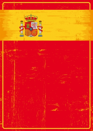 A red spanish poster with the flag of spain for your advertising  Vector