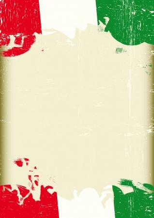 bandera italia: Un cartel con un gran marco rayado y una bandera italiana grunge para su publicidad