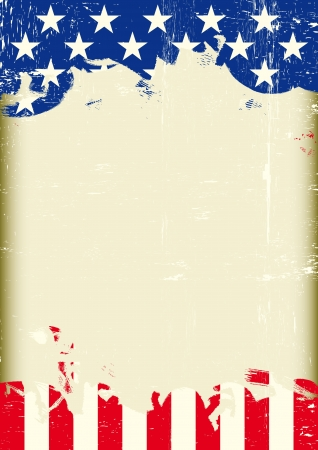 democracia: Un cartel americano con un gran marco rayado y una bandera nos grunge para su publicidad