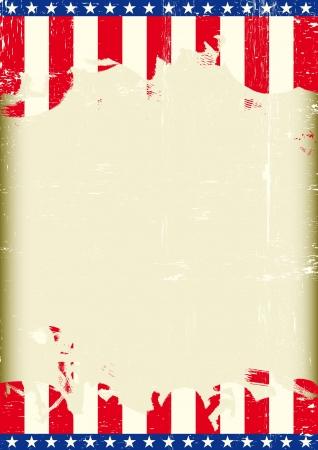 publicit�: Une affiche avec un grand cadre ray� et un drapeau grunge nous pour votre publicit�