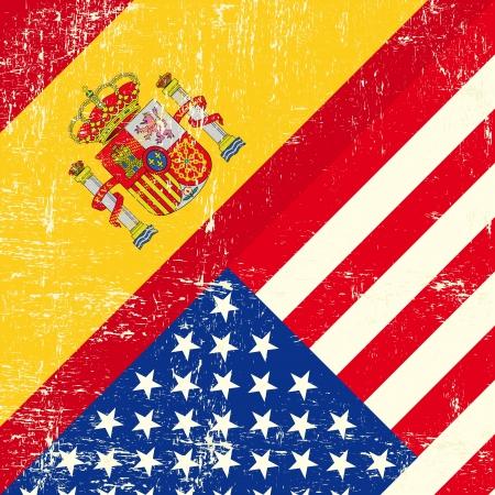 tour operator: USA and spain grunge Flag