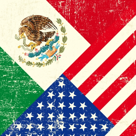 mexican: USA and Mexican grunge Flag Illustration