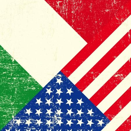 bandiera italiana: USA e italiano grunge Bandiera