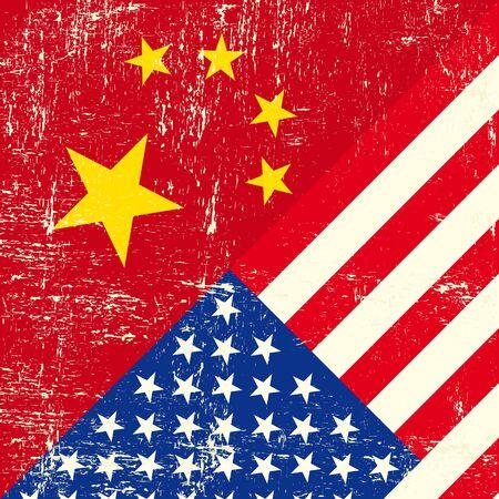 tour operator: USA and Chinese grunge Flag Illustration