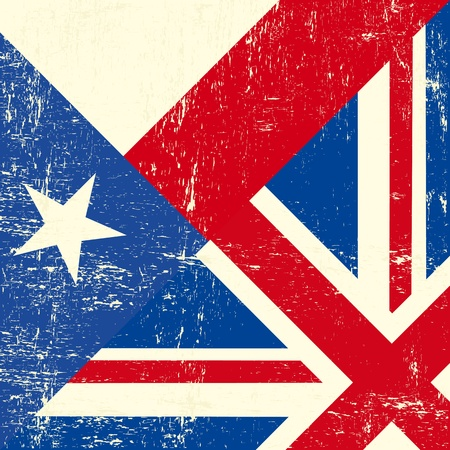 UK and Texas grunge flag Vector