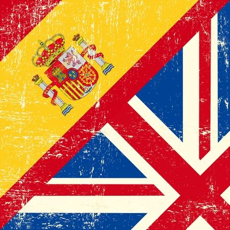 bandiera spagnola: Regno Unito e spagnolo bandiera grunge