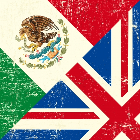 UK and Mexican grunge flag Vector