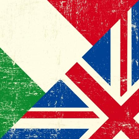 foreign nation: UK and Italian grunge flag Illustration