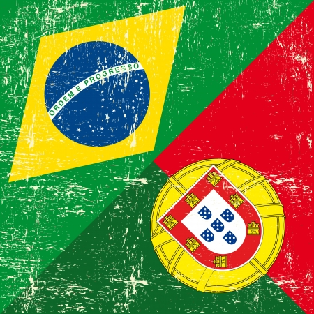 Mixed square Brazilian and Portuguese grunge Flag  Vector