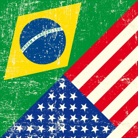 Mixed square Brazil and USA grunge Flag  Vector