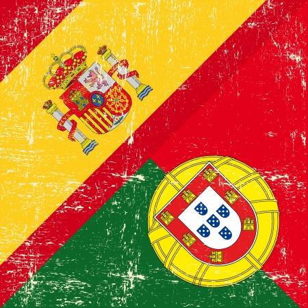 drapeau portugal: Mixed carré espagnol et le Portugal grunge Drapeau Illustration