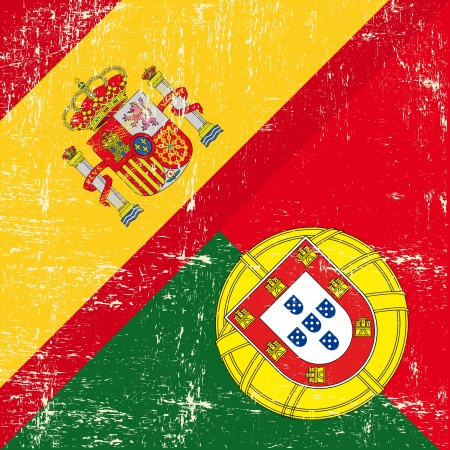barcelona spain: Mixed square Spanish and Portugal grunge Flag
