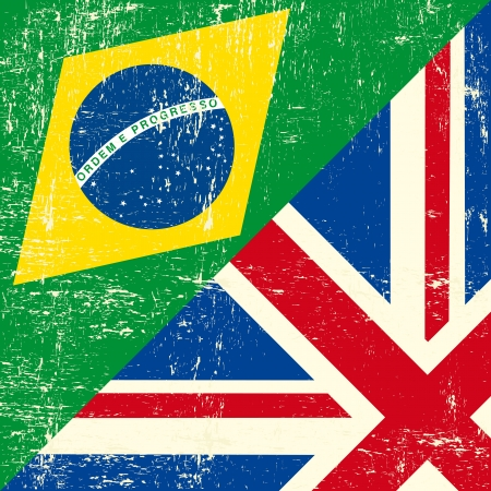 Mixed square UK and brazilian grunge flag Vector