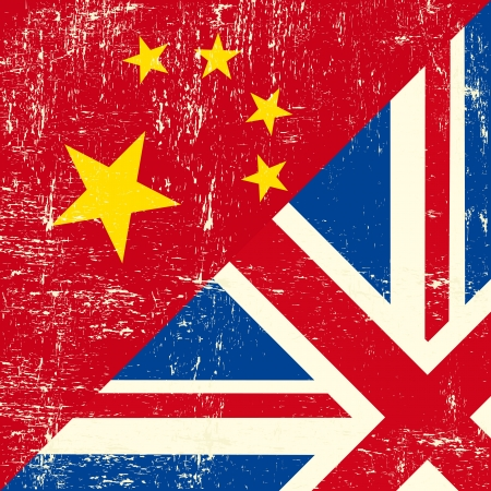 Mixed square UK and Chinese grunge flag Vector