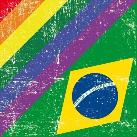 lesbian: Grunge flag mixte avec drapeau br�silien Illustration