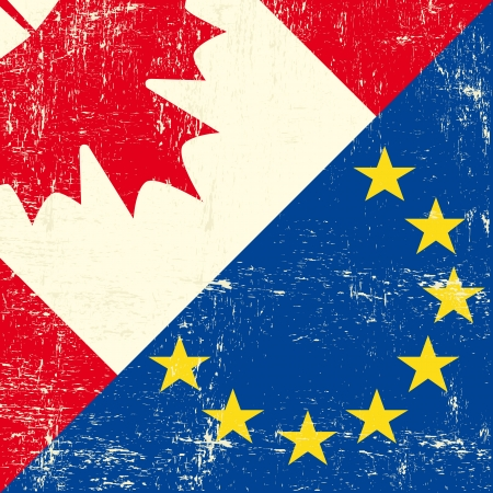 translating: this flag represents the relationship  between european union and Canada Illustration