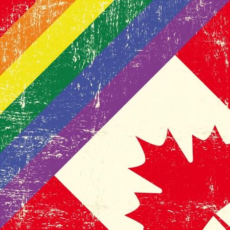 boda gay: Bandera gay grunge mezclado con la bandera canadiense Vectores