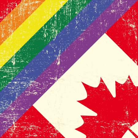 trans gender: Mixed grunge gay flag with canadian flag