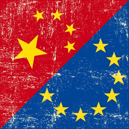 this flag represents the relationship  between european union and China Vector